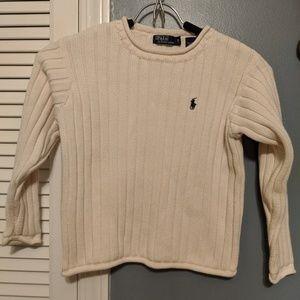 Polo cream color cotton knit sweater boys  sz 7